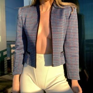 Vintage Houndstooth Plaid Blue Cropped Blazer S